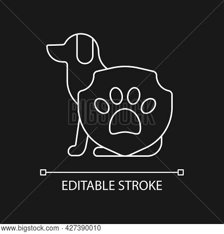 Animal Protection White Linear Icon For Dark Theme. Pet Welfare Label. Cruelty Free Mark For Brand.