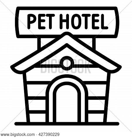 Outdoor Pet Hotel Icon. Outline Outdoor Pet Hotel Vector Icon For Web Design Isolated On White Backg