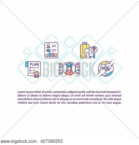 Internship Plan Concept Line Icons With Text. Ppt Page Vector Template With Copy Space. Brochure, Ma