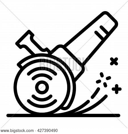 Working Angle Grinder Icon. Outline Working Angle Grinder Vector Icon For Web Design Isolated On Whi