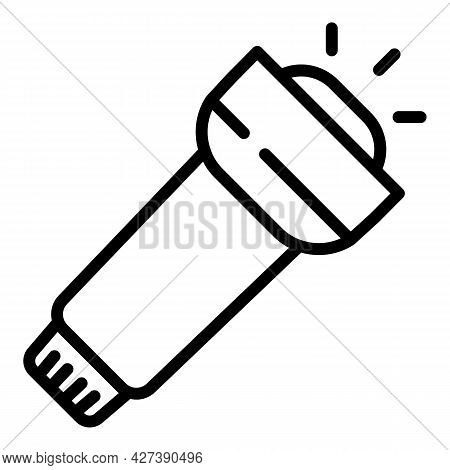 Flashlight Icon. Outline Flashlight Vector Icon For Web Design Isolated On White Background
