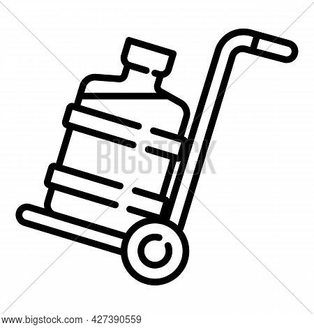 Water Cooler Bottle On Cart Icon. Outline Water Cooler Bottle On Cart Vector Icon For Web Design Iso