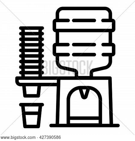 Water Cooler With Glasses Icon. Outline Water Cooler With Glasses Vector Icon For Web Design Isolate