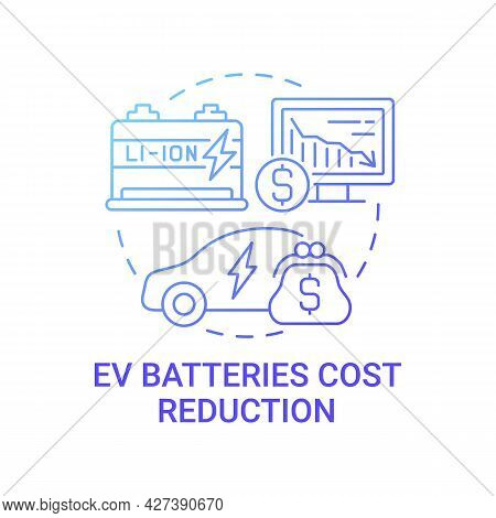 Ev Batteries Cost Reduction Concept Icon. Future Transport Charging Solutions. Electric Vehicles Abs