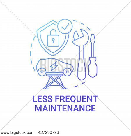 Ev Less Frequent Maintenance Concept Icon. Future Transport Intelligence Solution Abstract Idea Thin