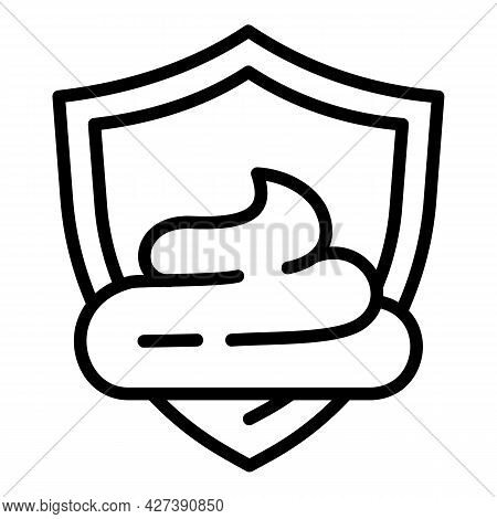 Cream Shield Protection Icon. Outline Cream Shield Protection Vector Icon For Web Design Isolated On