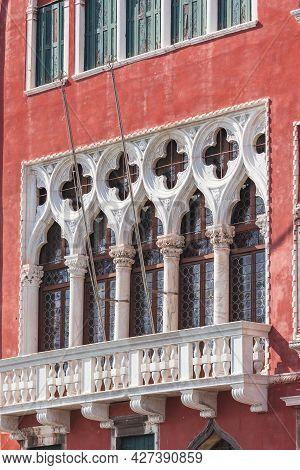 Close Up Details Of Windows On Facade Of Palazzo Erizzo, Also Known As Palazzo Erizzo Alla Maddalena