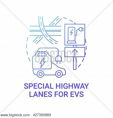 Ev Special Highway Lanes Concept Icon. Eco-friendly Car Integral Part Life Routes Abstract Idea Thin