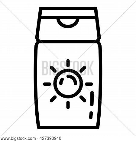 Sunscreen Cream Bottle Icon. Outline Sunscreen Cream Bottle Vector Icon For Web Design Isolated On W