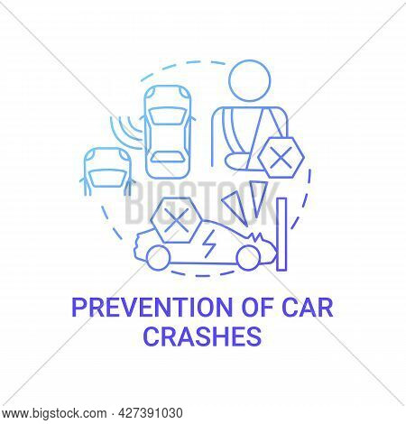 Ev Crashes Prevention Concept Icon. Future Transport Collision Avoidance System. Cyber Accident Tech