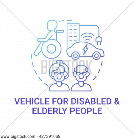 Disabled And Old Persons Vehicle Concept Icon. Hybrid Car Benefits. Evolutionary Solutions Abstract