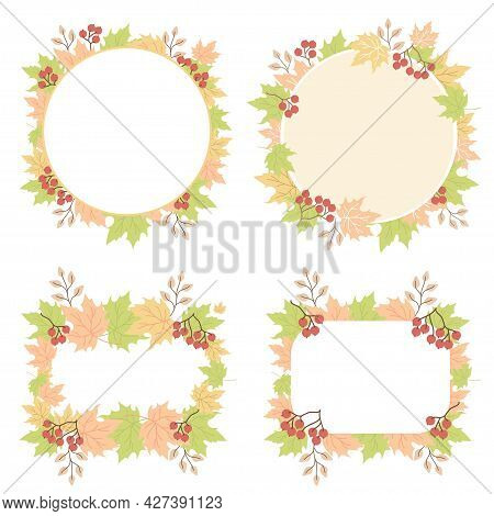 Autumn Pattern From Leaves. Collection Of Round And Rectangular Frames, Napkins From Multi-colored M
