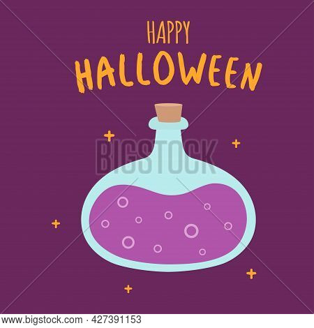 Glass Jar With Poisonous Liquid, Poison And Love Potion, Halloween Card With Cartoon Bottle Of Poiso