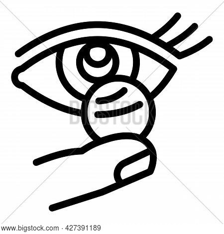 Woman Contact Lens Icon. Outline Woman Contact Lens Vector Icon For Web Design Isolated On White Bac