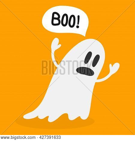 Cute Ghost. Halloween Ghost With Speech Bubble That Says Boo, Isolated On Orange Background. Happy H