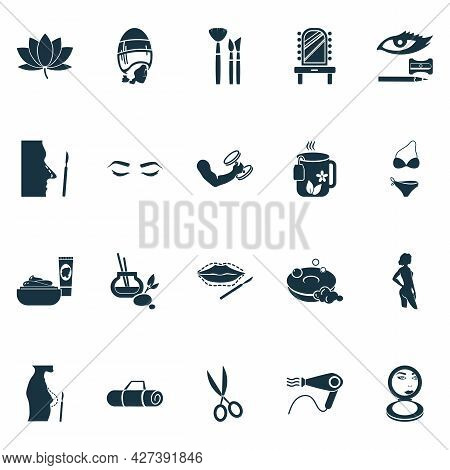 Cosmetics Icons Set With Vintage Hairdryer, Fitness, Yoga Mat And Other Shears Elements. Isolated Ve