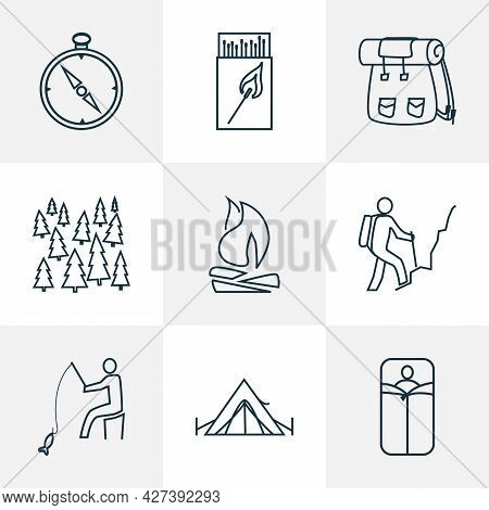 Tourism Icons Line Style Set With Fishing, Forest, Hiking Man And Other Matches Elements. Isolated V