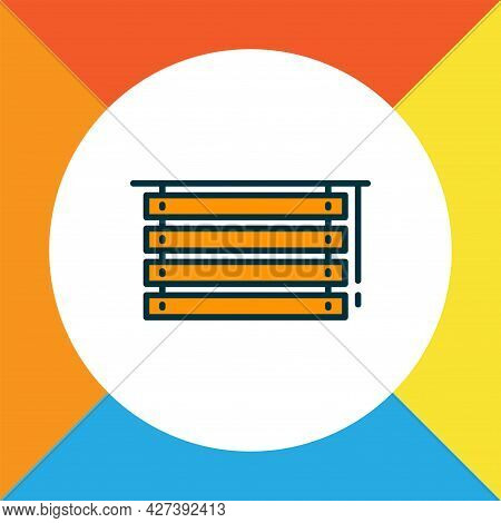 Louvers Icon Colored Line Symbol. Premium Quality Isolated Jalousie Element In Trendy Style.