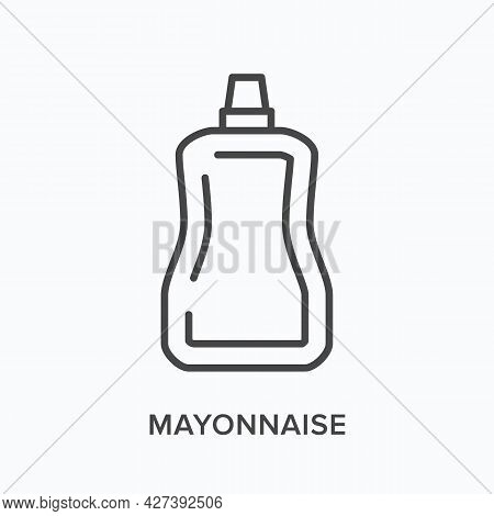 Mayonnaise Flat Line Icon. Vector Outline Illustration Of Polymer Sauce Pack. Black Thin Linear Pict