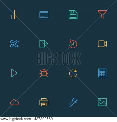 Interface Icons Line Style Set With Virus, Column, Picture And Other Chart Elements. Isolated Vector