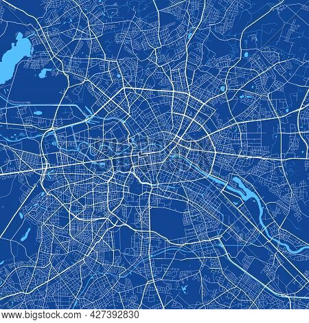 Detailed Map Poster Of Berlin City Administrative Area. Cityscape Panorama. Decorative Graphic Touri
