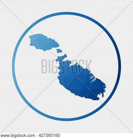Malta Icon. Polygonal Map Of The Island In Gradient Ring. Round Low Poly Malta Sign. Vector Illustra