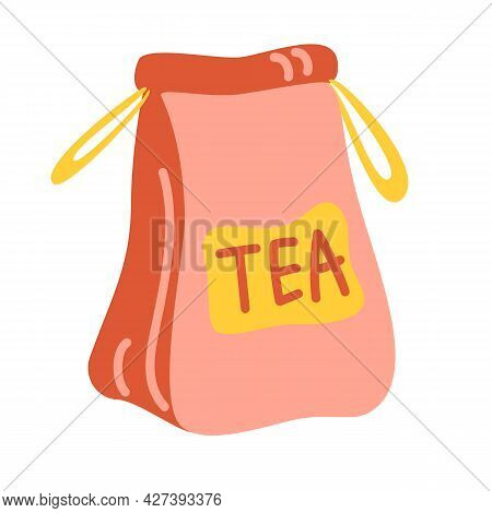 Craft Paper Bag With Tea. Element For The Design Of The Kitchen Of Cafes And Restaurants. Vector Ill