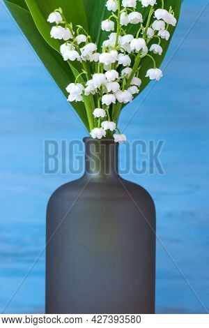Blue Background With White Delicate Lily Of The Valley Flowers For Mothers Day Vertical Greeting Car