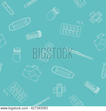 Turquoise Pattern With Pills And Remedies. Sketch Style Drawing
