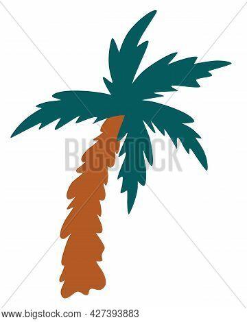 Cartoon Palm Tree. Coconut Tree. Summer Vacation. Vector Cartoon Illustration.