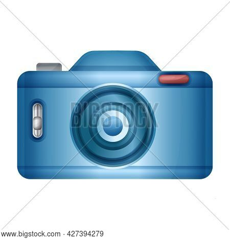 Blue Photo Camera Sign. Photography Picture Or Video Creation Studio. Professional Photographer. Rea