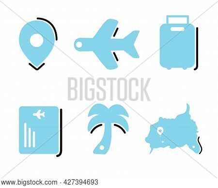 Flat Tour And Travel Icons Set Vector Illustration