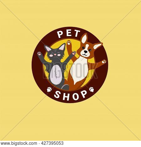 Colorful Logo Of The Pets Shop. Funny Cute Dog And Cat Look Out Of The Circle. A Corgi Puppy. Vector