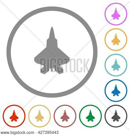 Jet Fighter Silhouette Flat Color Icons In Round Outlines On White Background