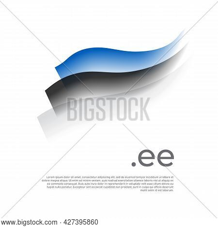 Estonia Flag Watercolor. Stripes Colors Of The Estonian Flag On A White Background. Vector Stylized
