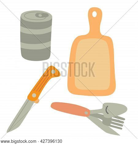 Set For Cooking Outside. Canning Food, Folding Knife, Spoon Amd Fork. Cutting Board. Camping Equipme