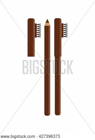Vector Eyebrow Pencil With Cap And Brush. Closed And Open Brown Eyebrow Pencil. Decorative Cosmetics