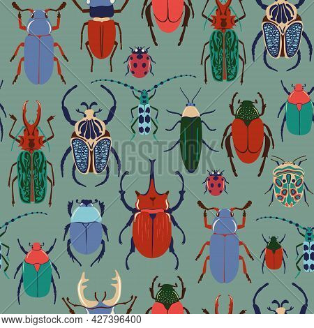 Seamless Pattern With Colorful Bugs. Bright Vector Drawing Of Small Beetles. Insect On The Green Bac