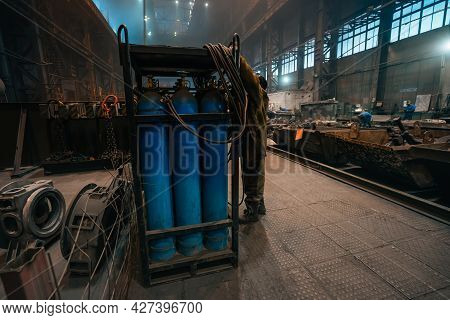 Balloons With Gas Or Oxygen In Heavy Industry Manufacturing Factory Workshop. Metallurgy Manufacturi