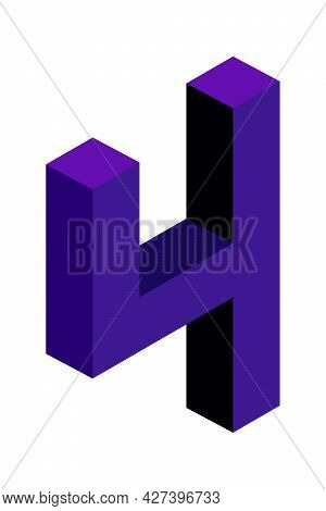 Dark Blue Number 4 In Isometric Style. Isolated On White Background. Learning Numbers, Serial Number