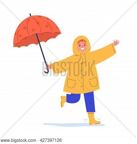 The Child Runs In The Rain. Happy Kid In A Yellow Raincoat Under Umbrella During Rain. Flat Vector C