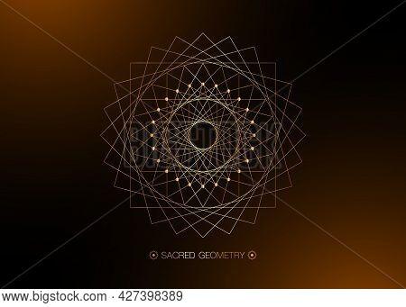 Gold Circle Mandala, Sacred Geometry, Round Frame Sign Geometric Logo Design With Intertwining Of Sq
