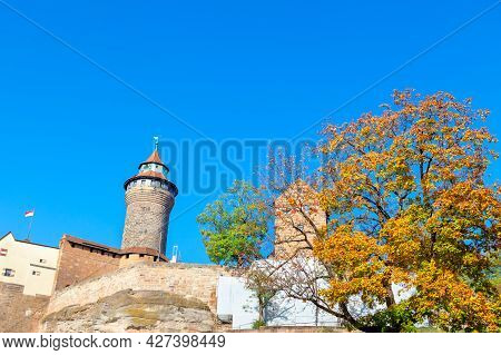 Sinwell Tower Part Of Imperial Castle Of Nuremberg . Autumn In Germany