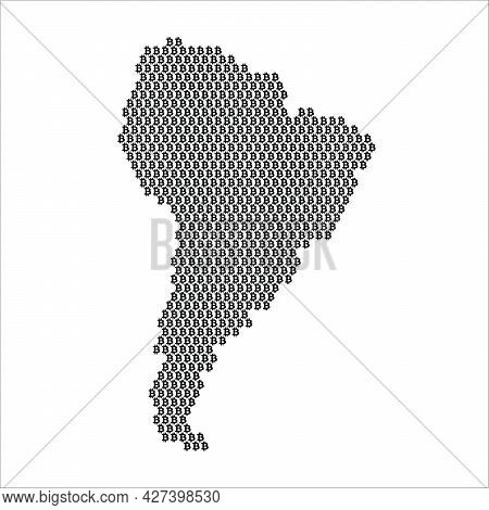 South America Country Map Made With Bitcoin Crypto Currency Logo