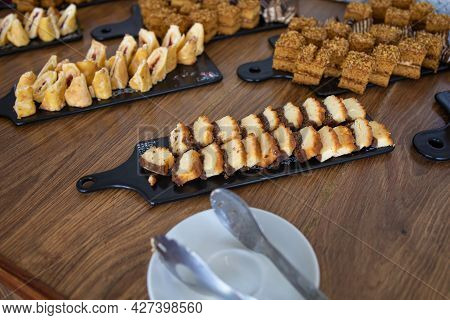 Delicious Decorated Candy Bar, Sweets On A Buffet Table At A Luxury Event