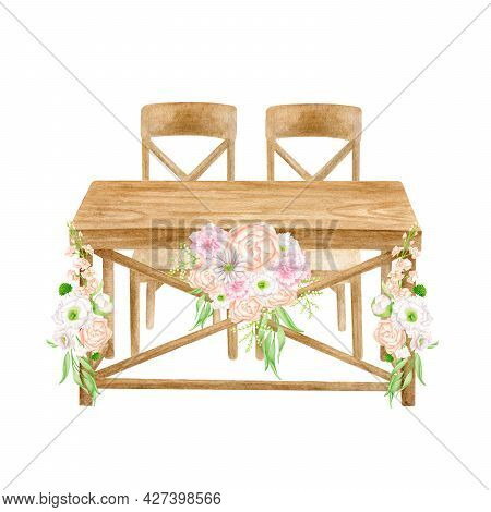Watercolor Wood Wedding Table With Centerpiece Flower Arrangement Isolated On White. Hand Painted Sw