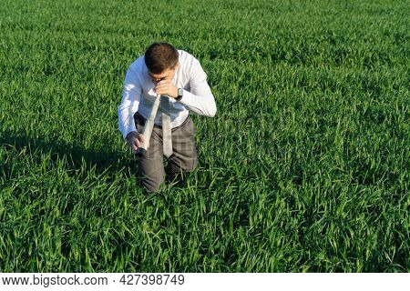 businessman poses with a spyglass, he looks into the grass and looks for something, green grass and blue sky as background