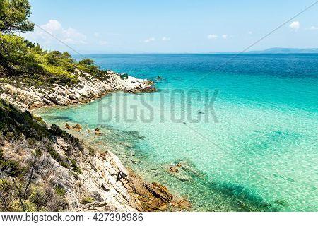 Aegean Sea Coast Landscape With Aquamarine Water, View Near Mega Portokali Beach (sithonia, Chalkidi
