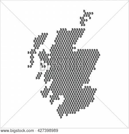 Scotland Country Map Made With Bitcoin Crypto Currency Logo