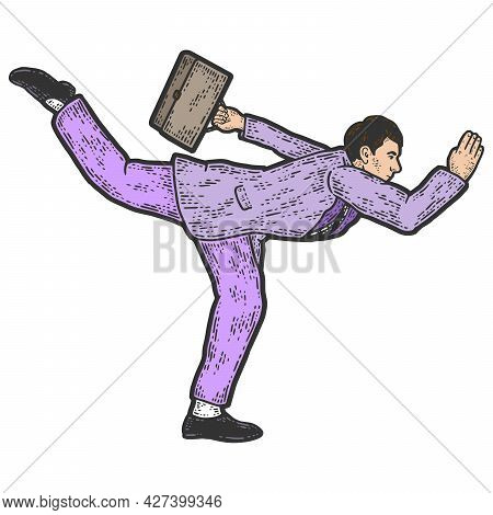 Businessman In A Funny Pose. Acceleration Running. Sketch Scratch Board Imitation Color.